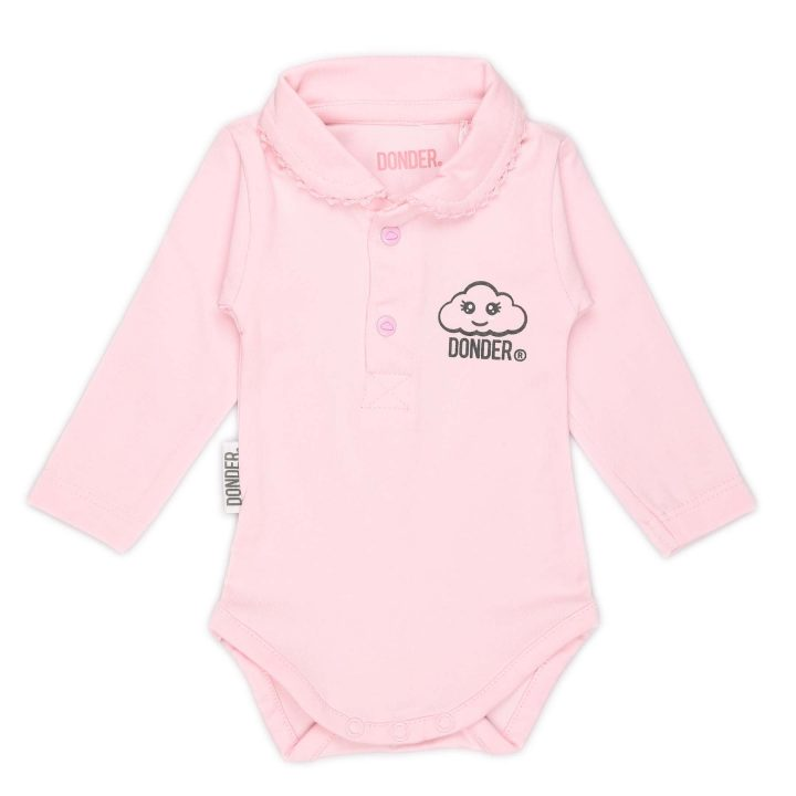 Polo Romper   Lange Mouw   Basic Roze