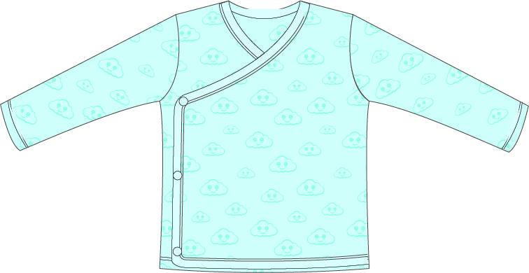 T-shirt   Lange Mouw   Overslag   Cloud Blauw